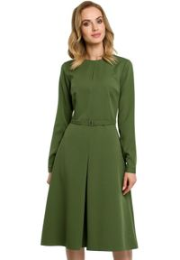 MOE - Elegancka trapezowa sukienka z paskiem w talii. Materiał: materiał, elastan. Wzór: gładki. Typ sukienki: trapezowe. Styl: elegancki. Długość: mini