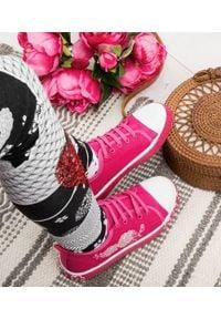 UNDERLINE - Trampki dziecięce Underline FY1801 Różowe. Zapięcie: bez zapięcia. Kolor: różowy. Materiał: skóra, tkanina, guma