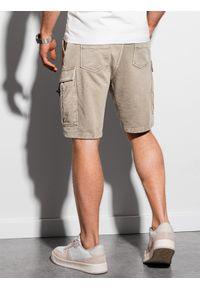 Ombre Clothing - Krótkie spodenki męskie dresowe W292 - jasnobeżowe - XXL. Kolor: beżowy. Materiał: dresówka. Długość: krótkie