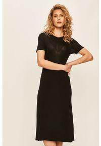 Czarna sukienka Miss Sixty midi, rozkloszowana, casualowa