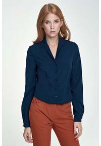 Nife - Elegancka Granatowa Koszula z Długim Rękawem. Kolor: niebieski. Materiał: poliester, elastan. Długość rękawa: długi rękaw. Długość: długie. Styl: elegancki