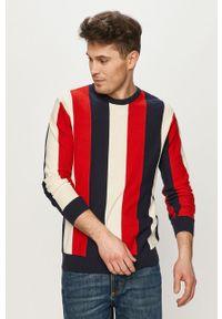 Czerwony sweter Pepe Jeans długi, z długim rękawem, casualowy, na co dzień