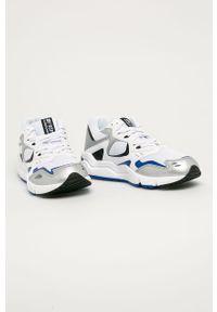 Białe sneakersy New Balance na sznurówki, z okrągłym noskiem, z cholewką