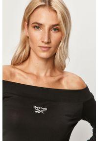 Czarna bluzka Reebok Classic na co dzień, długa, z dekoltem typu hiszpanka
