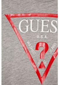 Szara koszulka z długim rękawem Guess Jeans na co dzień, casualowa, z nadrukiem