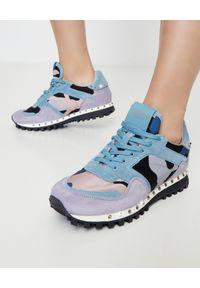 Niebieskie sneakersy VALENTINO z aplikacjami