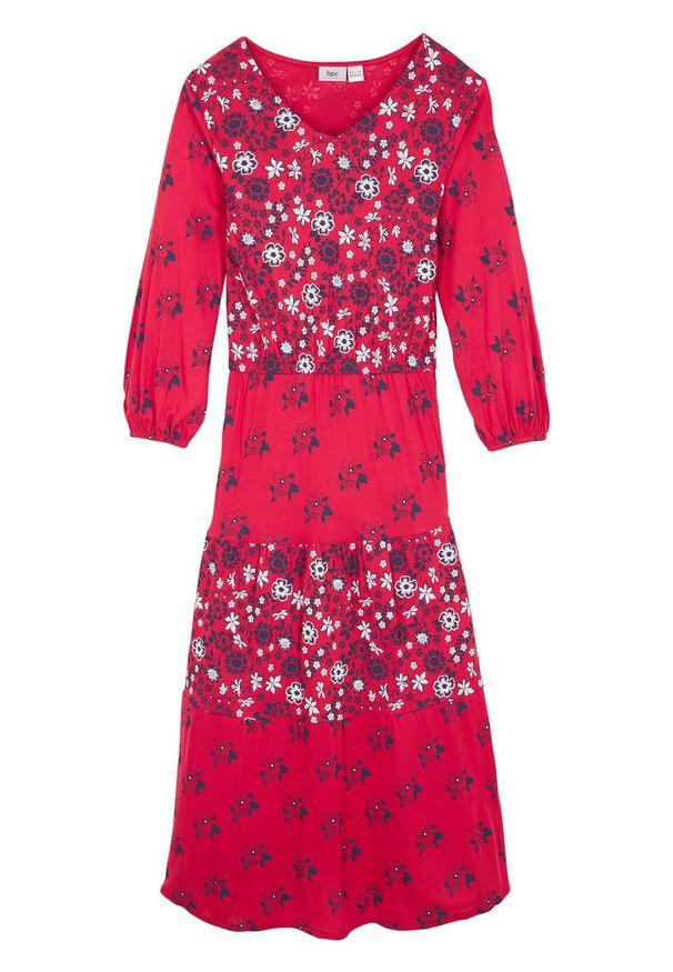 Czerwona sukienka bonprix z aplikacjami, maxi