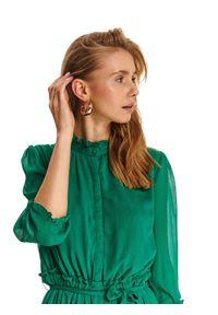 Zielona sukienka TOP SECRET na lato, ze stójką