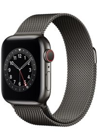 APPLE - Apple smartwatch Watch Series 6 Cellular, 40mm Graphite Stainless Steel Case with Graphite Milanese Loop. Rodzaj zegarka: smartwatch. Kolor: szary