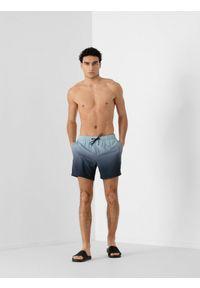 4f - Szorty plażowe męskie. Okazja: na plażę. Kolor: niebieski. Materiał: tkanina, włókno. Sezon: lato