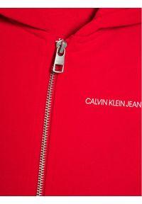 Calvin Klein Jeans Bluza Est.78 Back Print Zip Through IB0IB00626 Czerwony Regular Fit. Kolor: czerwony. Wzór: nadruk