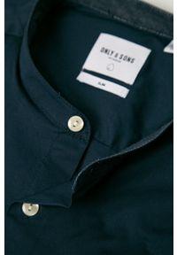 Niebieska koszula Only & Sons długa, ze stójką, casualowa