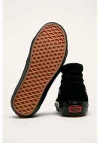 Czarne tenisówki Vans na sznurówki, z cholewką, z okrągłym noskiem