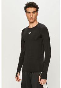 Czarna koszulka z długim rękawem 4f z długim rękawem, gładkie