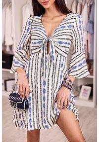 Wielokolorowa sukienka mini IVET na lato, w paski