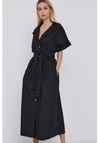 BARDOT - Bardot - Sukienka. Okazja: na co dzień. Kolor: czarny. Materiał: tkanina. Długość rękawa: krótki rękaw. Wzór: gładki. Typ sukienki: proste. Styl: casual