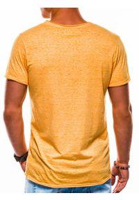 Ombre Clothing - T-shirt męski bez nadruku S1051 - żółty - XXL. Kolor: żółty. Materiał: poliester, bawełna