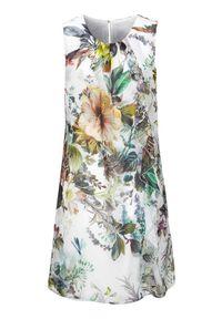 Sukienka Cellbes w kwiaty, prosta, z okrągłym kołnierzem