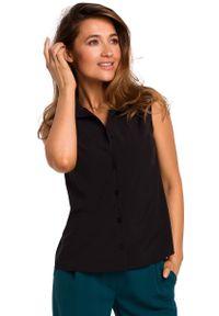 MOE - Czarna Koszulowa Bluzka bez Rękawów. Kolor: czarny. Materiał: elastan, poliester. Długość rękawa: bez rękawów