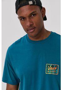 Vans - T-shirt. Kolor: turkusowy. Materiał: dzianina. Wzór: nadruk