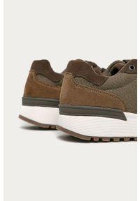Brązowe sneakersy medicine na sznurówki, z cholewką, z okrągłym noskiem