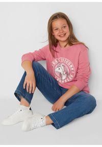 Bluza dziewczęca oversize bonprix dymny różowy z nadrukiem. Kolor: różowy. Materiał: bawełna. Długość: długie. Wzór: nadruk
