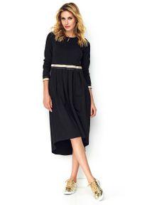 Czarna sukienka rozkloszowana Makadamia