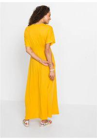 Długa sukienka z dżerseju bonprix żółty szafranowy. Kolor: żółty. Materiał: jersey. Długość: maxi