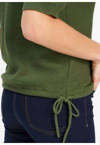 Sweter rozpinany bonprix ciemny khaki. Kolor: zielony. Długość rękawa: krótki rękaw. Długość: krótkie