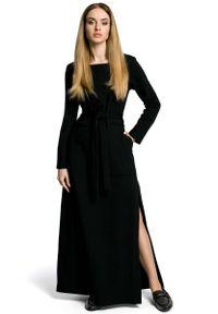Czarna sukienka dzianinowa MOE maxi