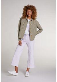 Jeansowa kurtka/katana w oliwkowym kolorze Oui. Typ kołnierza: kołnierzyk klasyczny. Kolor: oliwkowy. Materiał: jeans. Styl: klasyczny