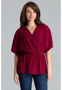 Czerwona bluzka Katrus z kopertowym dekoltem #1