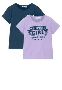 T-shirt dziewczęcy (2 szt.), bawełna organiczna bonprix jasny fioletowy - ciemnoniebieski. Kolor: fioletowy. Materiał: bawełna. Wzór: nadruk