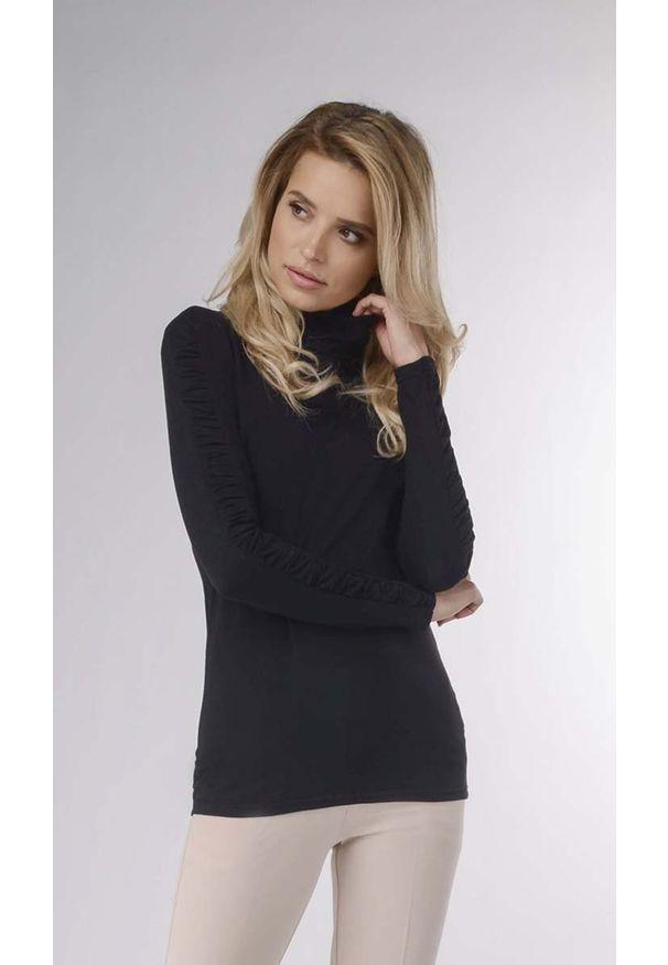 Czarna bluzka Nommo z golfem, elegancka