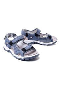 Niebieskie sandały Rieker na rzepy