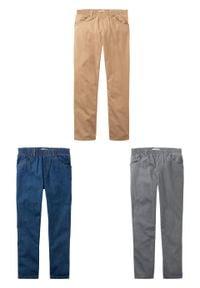 """Luźniejsze spodnie chłopięce z gumką w talii (3 pary w opak.) bonprix dymny szary + cappuccino+ niebieski """"stone"""" XXL. Kolor: szary"""