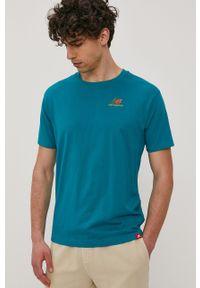 New Balance - T-shirt. Okazja: na co dzień. Kolor: zielony. Materiał: dzianina. Wzór: gładki. Styl: casual