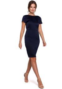 Niebieska sukienka wizytowa MAKEOVER elegancka, z dekoltem woda