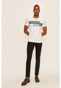 Biały t-shirt EA7 Emporio Armani na co dzień, casualowy