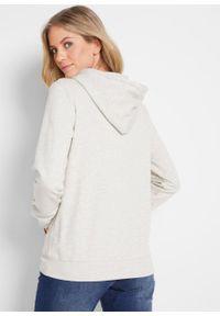 Biała bluza bonprix z kapturem, melanż