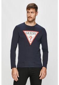 Niebieska koszulka z długim rękawem Guess Jeans na co dzień, z nadrukiem