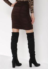 Born2be - Brązowa Spódnica Nemobe. Kolor: brązowy. Materiał: wiskoza, dzianina, guma