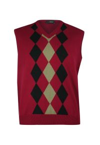 Czerwony sweter z dekoltem w serek, elegancki, na jesień, na co dzień