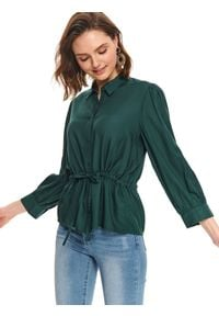 TOP SECRET - Koszula z wiązaniem w talii. Okazja: do pracy. Kolor: zielony. Długość rękawa: długi rękaw. Długość: długie. Sezon: lato. Styl: elegancki