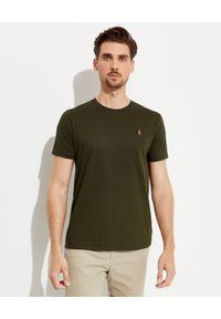 Ralph Lauren - RALPH LAUREN - Zielony t-shirt z logo Slim Fit. Typ kołnierza: polo. Kolor: zielony. Materiał: bawełna. Wzór: haft, kolorowy