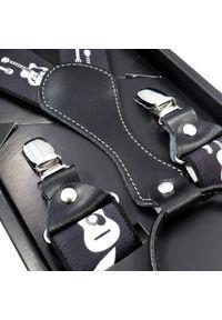 Modini - Czarne szelki męskie w białe gitary SZ65. Kolor: wielokolorowy, biały, czarny. Materiał: skóra, guma