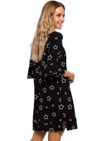 Sukienka MOE z falbankami, prosta, z nadrukiem, mini