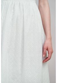 Marie Zélie - Sukienka Melania haft biały. Kolor: biały. Materiał: bawełna, skóra, materiał. Długość rękawa: krótki rękaw. Wzór: haft