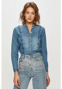 Niebieska koszula Jacqueline de Yong gładkie, na co dzień, długa