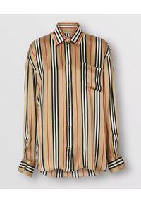Burberry - BURBERRY - Jedwabna koszula w paski. Okazja: do pracy, na spotkanie biznesowe. Kolor: beżowy. Materiał: jedwab. Długość rękawa: długi rękaw. Długość: długie. Wzór: paski. Styl: klasyczny, elegancki, biznesowy
